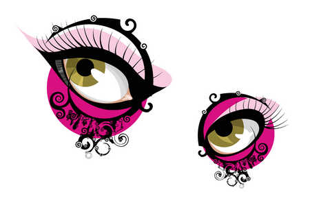 Woman's eyes with abstract designs
