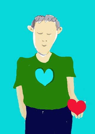 Man holding heart from cutout in chest