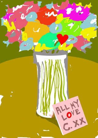 Love note and bouquet of flowers