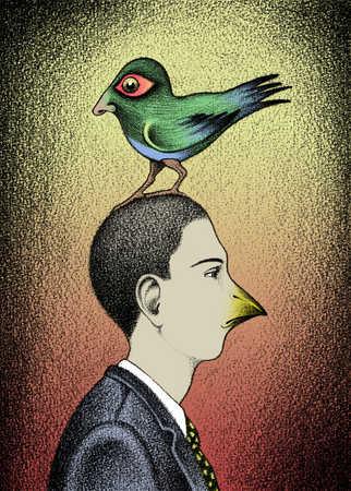 Man with beak and bird with human nose