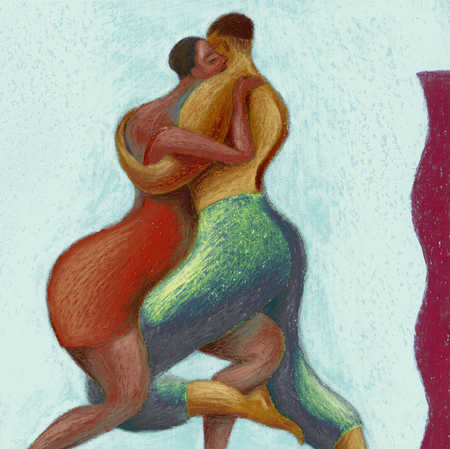 African couple dancing