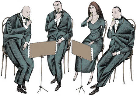 Musicians playing whistles and reading sheet music