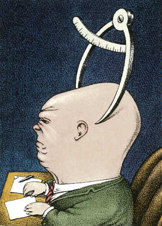 Businessman with calipers on head