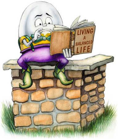 Humpty Dumpty reading on wall