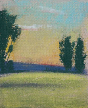 Pastel illustration of trees and field