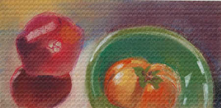 Illustration of vegetables on table