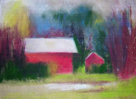 Pastel illustration of barns