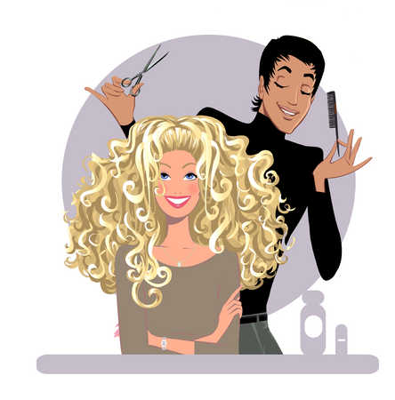 Male hairdresser working on woman's hair