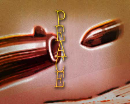 'Peace' written across painting of a bullet flying into a gun barrel