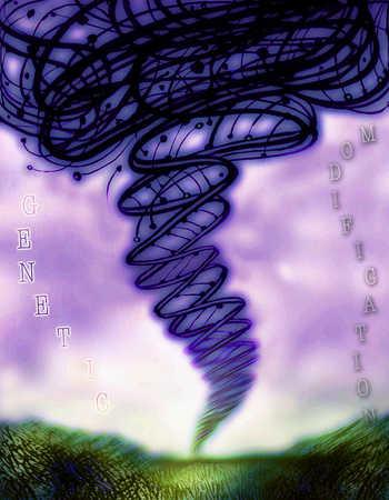 Genetic modification written beside a tornado made of gene strands