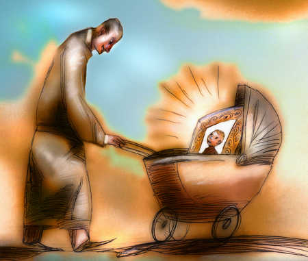 Man pushing baby carriage holding picture frame of infant