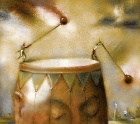Men beating giant drum