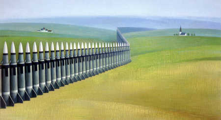 Mile-long row of missiles