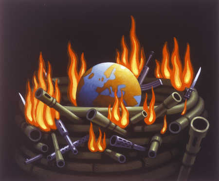 Burning automatic weapons wrapped around globe