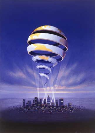 Globe made of film negatives floating above city