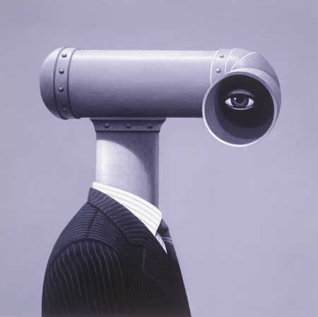Businessman with a periscope for a head
