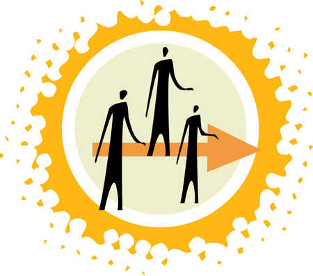 People standing on arrow in middle of circle