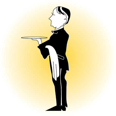Waiter carrying tray and towel
