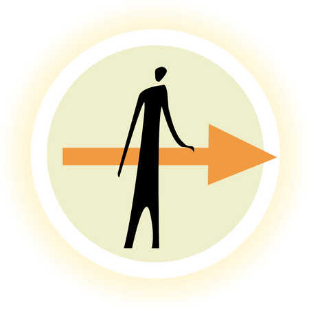 Man standing with arrow in middle of circle