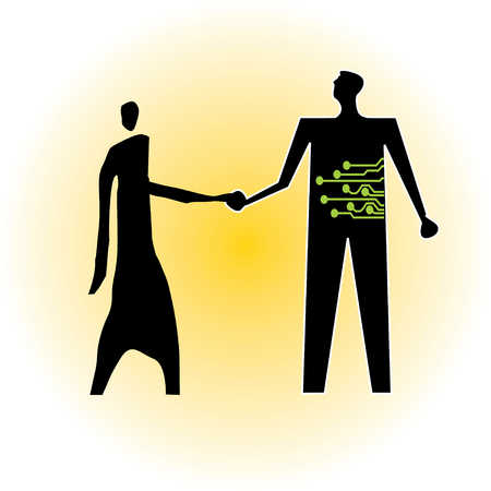 Man with microchip drawing shaking hands with other man