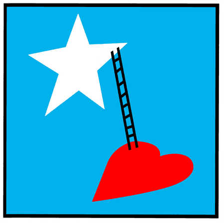 Ladder leading from heart to star