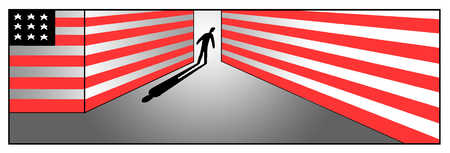 Man walking down hallway decorated with American flag