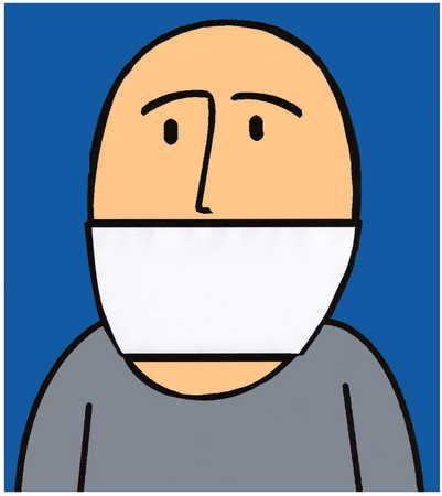 Man wearing bandanna around mouth