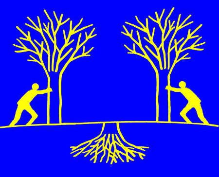 Men pushing trees towards underground roots
