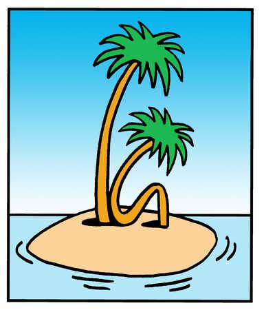 Bent palm tree on tropical island