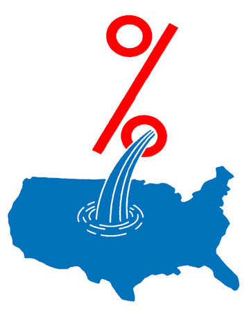 Percentage sign pouring water onto map of the United States