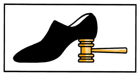 Shoe with gavel heel