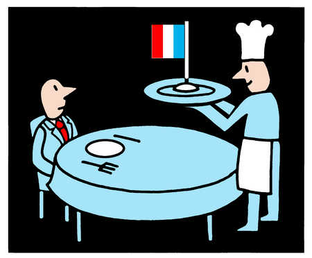 Chef serving French flag to customer