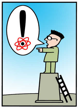 Man speaking an exclamation point with nuclear symbol on dot