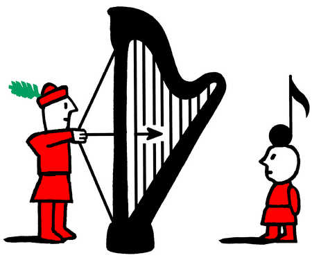 Man using harp to shoot arrow at musical note on kid's head