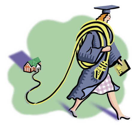Female scholar pulling house on a string
