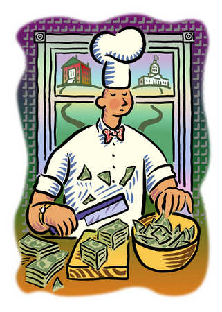 Chef chopping up money for salad