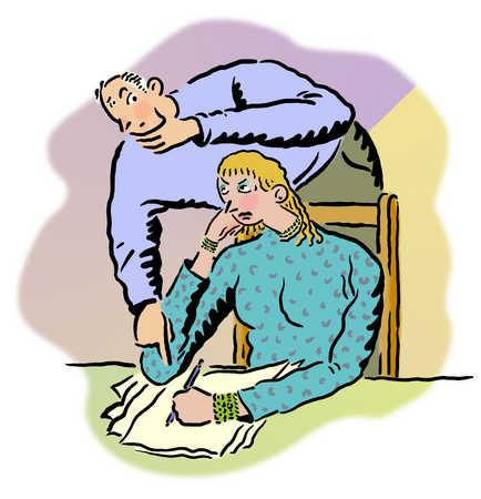 Man correcting woman's writing