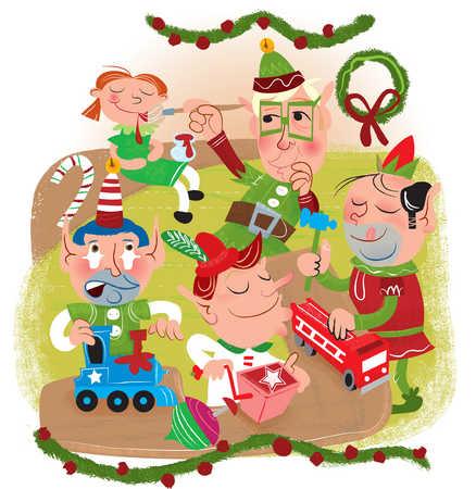 Stock Illustration - Christmas elves making toys