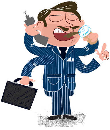 Businessman multitasking with four arms