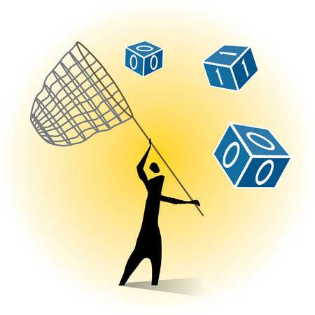 Person using net to catch binary blocks