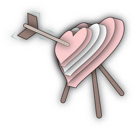 Stock Illustration Arrow In Middle Of Heart Shaped Target