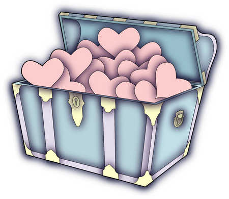 Treasure chest filled with hearts