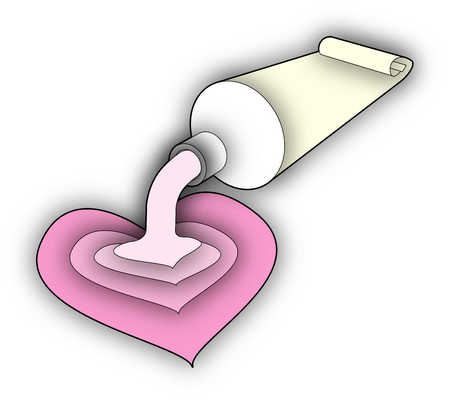 Toothpaste spilling out on to heart shape