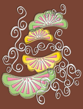 Abstract design of wedges and swirls