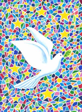 Dove flying with olive branch in beak