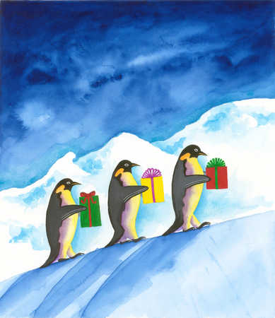 Penguins carrying gifts up hill