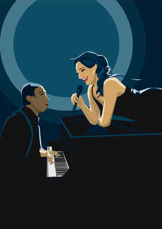 Woman laying on piano singing to musician