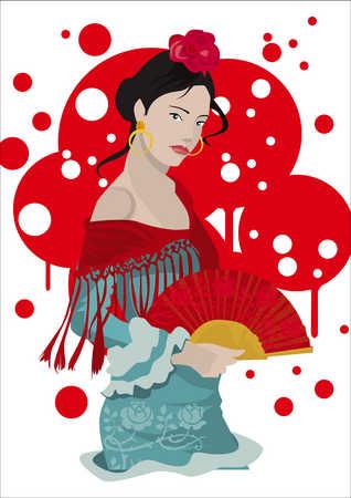 Hispanic woman in flamenco outfit