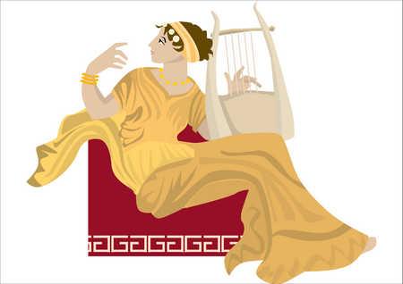 Woman in Greek dress holding lyre