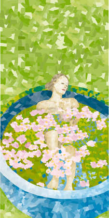 Woman in pool with flowers